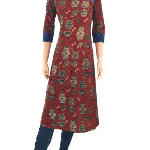 Buy Kalamkari Readymade Online Kurtis - Scarlet Thread